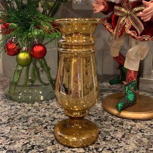 Vintage Mercury Glass Vase, Gold Mercury Glass